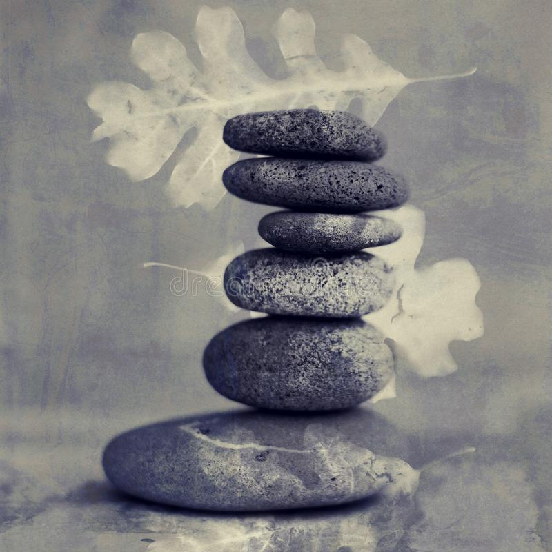 Peaceful Balanced Stones And Leaves royalty free stock image