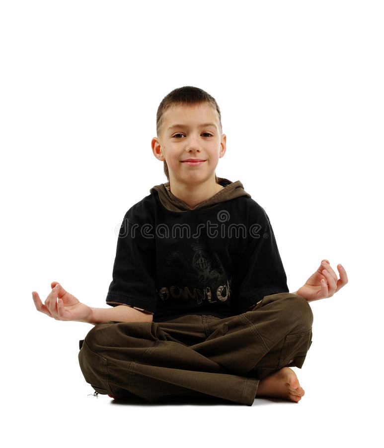 Download Peaceful boy in yoga pose stock image. Image of child - 12402715