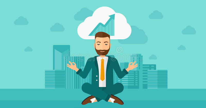 Peaceful businessman meditating. Peaceful hipster man with the beard meditating in lotus pose and thinking about the growth graph on the background of modern royalty free illustration