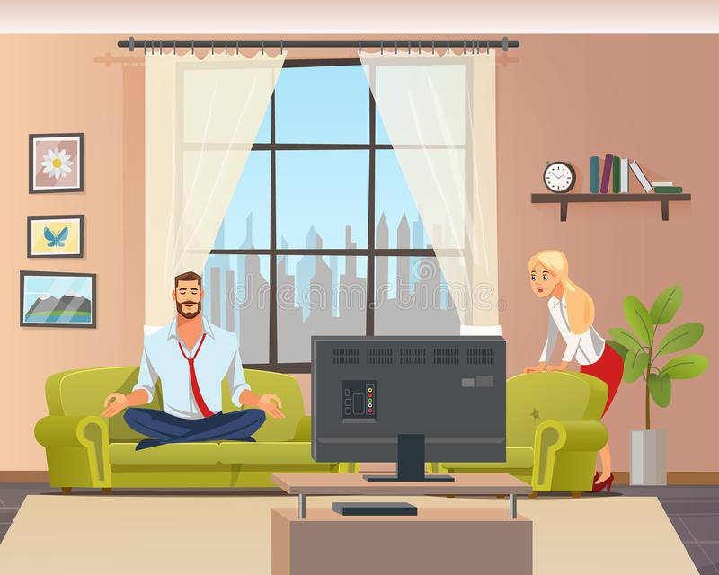 Peaceful Calm Man Doing Home Yoga in Living Room vector illustration