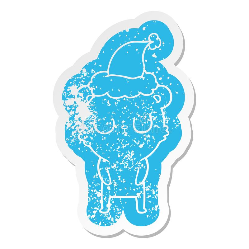 Peaceful cartoon distressed sticker of a bear wearing santa hat. A creative illustrated peaceful cartoon distressed sticker of a bear wearing santa hat vector illustration