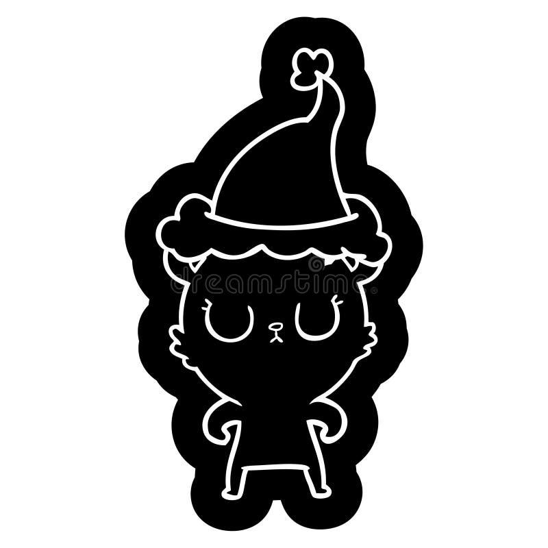 Peaceful cartoon icon of a bear wearing santa hat. A creative illustrated peaceful cartoon icon image of a bear wearing santa hat stock illustration