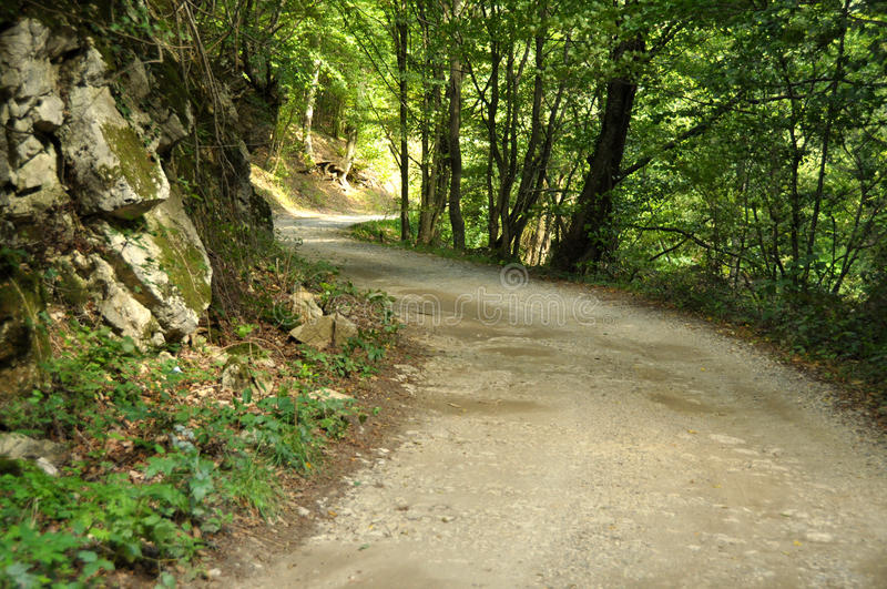 Peaceful countryside road in Cheile Nerei Natural Reservation. From Romania stock photos