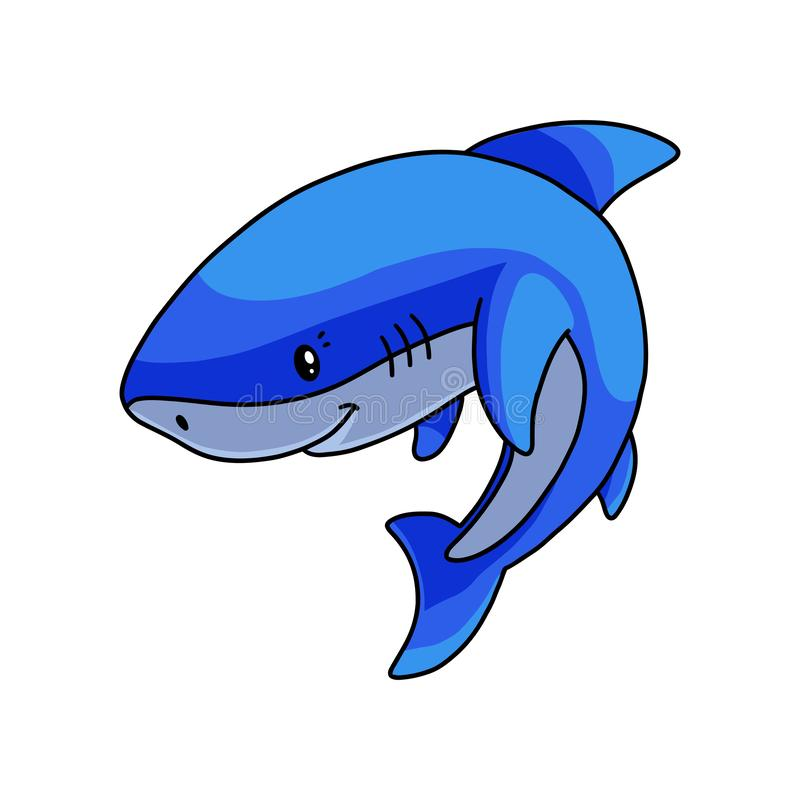 Peaceful cute blue white shark waiting fish food. In deep sea. Cartoon style. Vector illustration on white background royalty free illustration