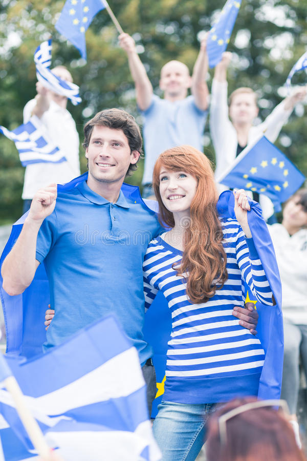 Peaceful demonstration of EU supporters stock images
