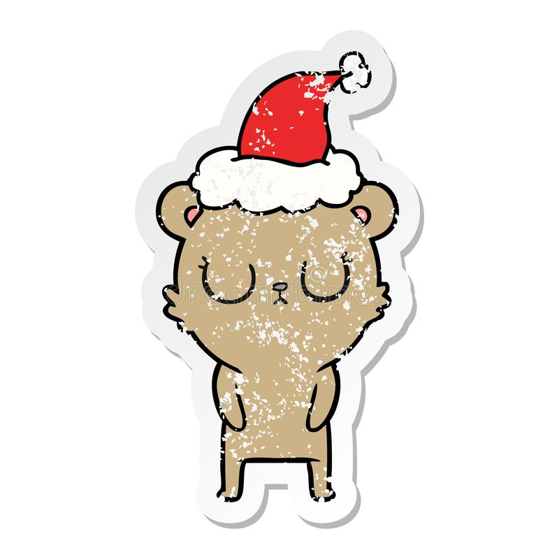 Peaceful distressed sticker cartoon of a bear wearing santa hat. A creative illustrated peaceful distressed sticker cartoon of a bear wearing santa hat vector illustration