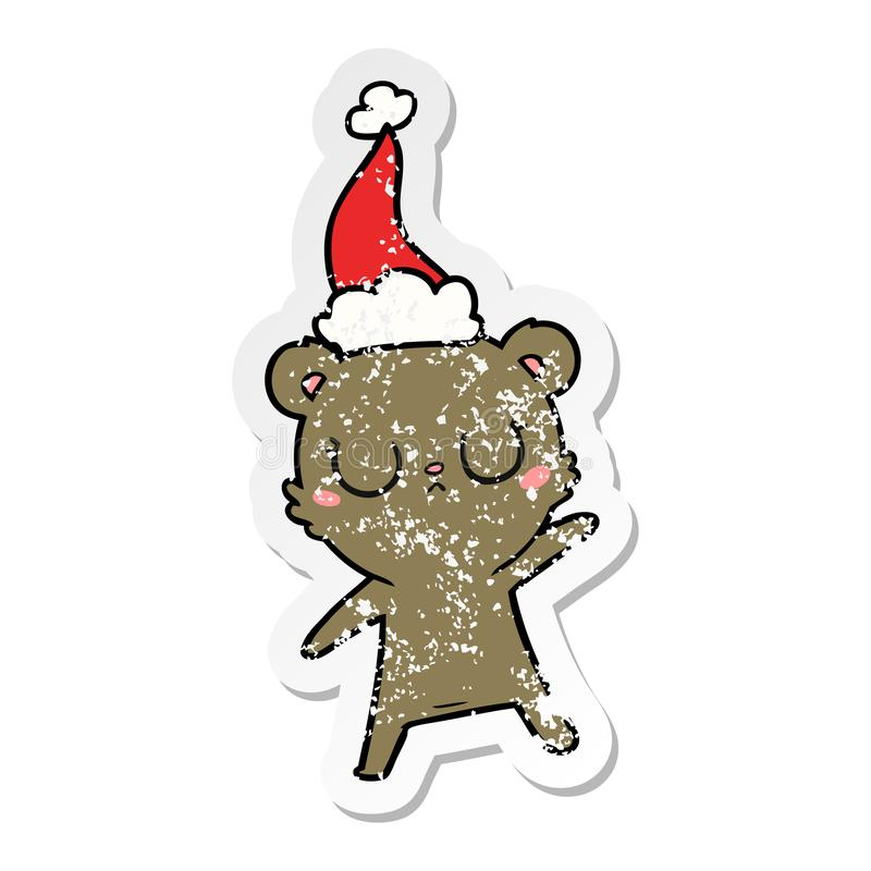 Peaceful distressed sticker cartoon of a bear wearing santa hat. A creative illustrated peaceful distressed sticker cartoon of a bear wearing santa hat royalty free illustration