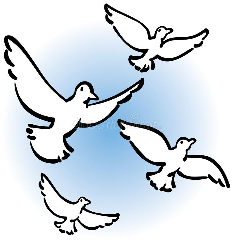 Download Peaceful Doves Flying stock vector. Illustration of peace - 19591137