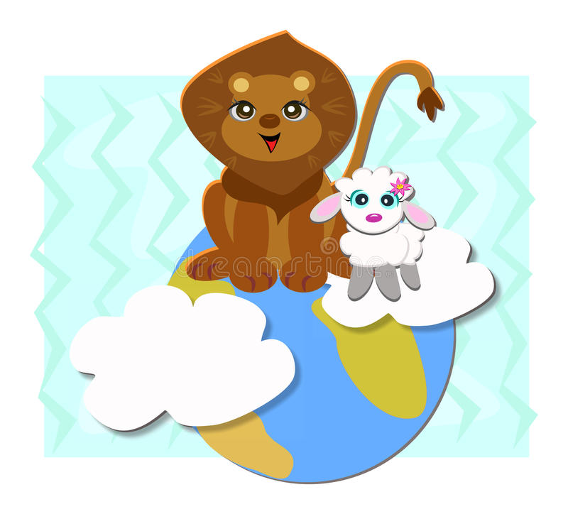 Peaceful Earth with Lion and Sheep. Here is a cute Peaceful couple sharing Planet Earth royalty free illustration