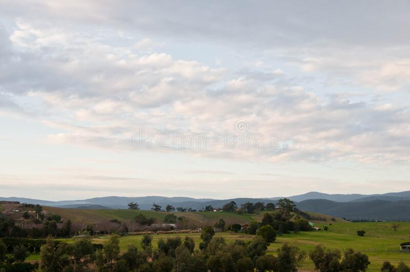Peaceful evening scene of Yarra Valley countryside and mountainrange near Melbourne Australia. Quiet and peaceful evening scene of Yarra Valley countryside and stock images