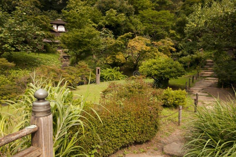 Peaceful garden path in japaneese garden Sankei-en. Peaceful path in japaneese garden Sankei-en, Yokohama, Japan stock images