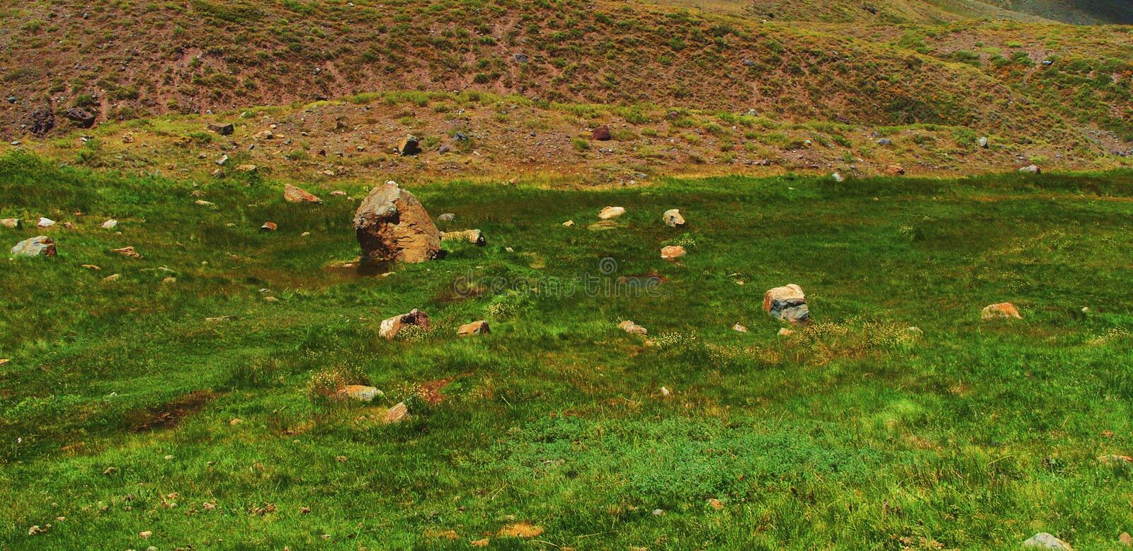 Peaceful green valley mountain landscape royalty free stock photo