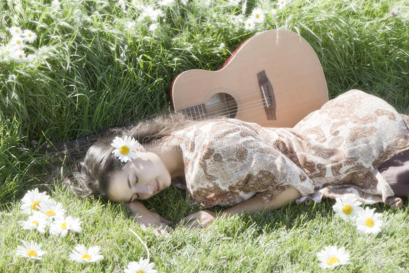 Peaceful happy hippie royalty free stock images