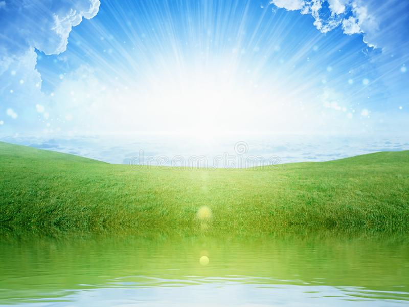 Light from heaven, bright sunlight with reflection in water, green grass on meadow royalty free stock photography
