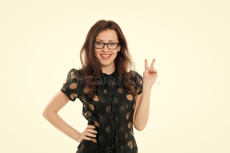 Peaceful lady. Business lady smart office manager. Girl wear formal clothes white background. Female business concept. Confident business manager. Woman stock photo