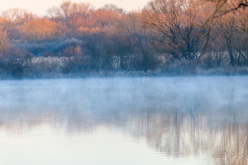 Peaceful lake in mist. Fog over pond at morning royalty free stock photo