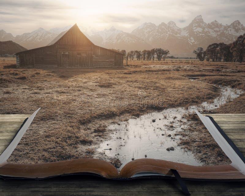 Peaceful landscape on book stock photo