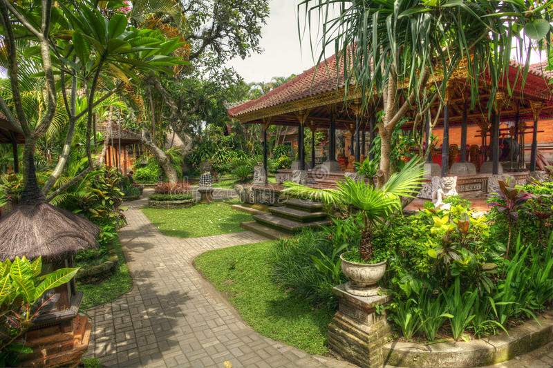 Peaceful landscape in Istana Ubud, Bali, Indonesia. Image of a portion of the beautiful landscapes inside the royal palace of Ubud also called Istana Ubud, Bali stock image