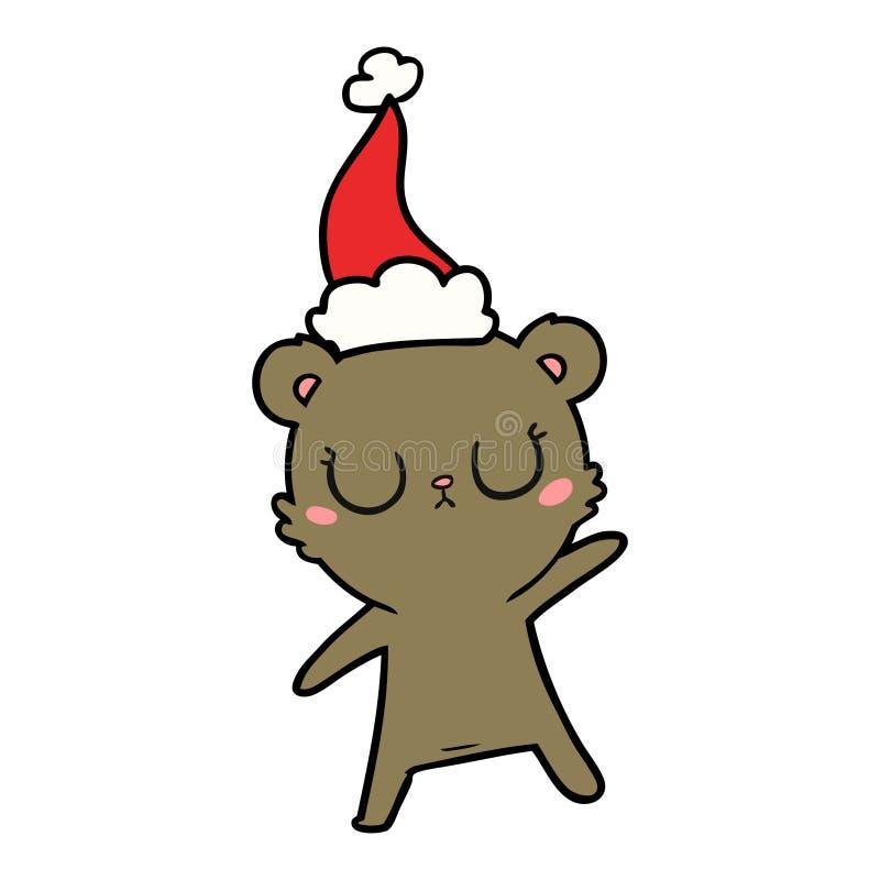Peaceful line drawing of a bear wearing santa hat. A creative illustrated peaceful line drawing of a bear wearing santa hat vector illustration