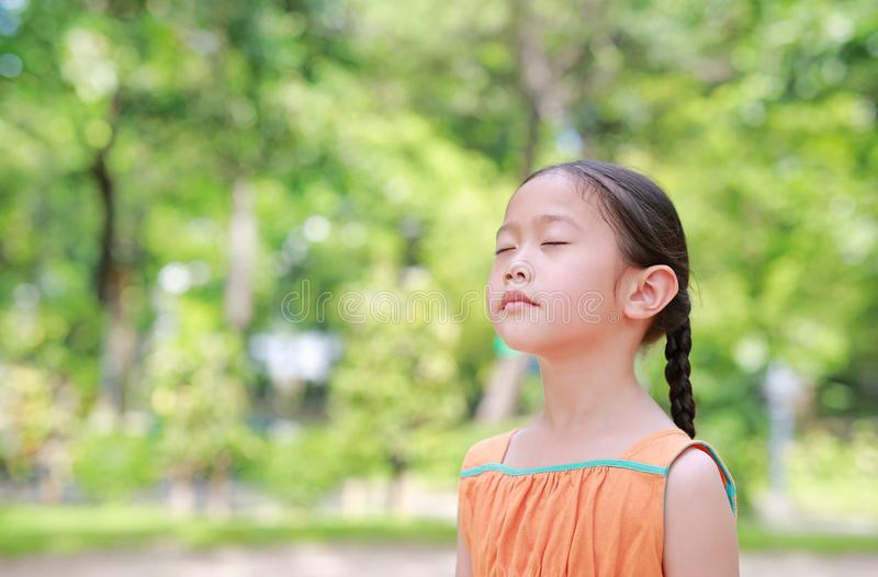 Peaceful little Asian child girl close their eyes in garden with Breathe fresh air from nature. Portrait of kid relax in green stock images