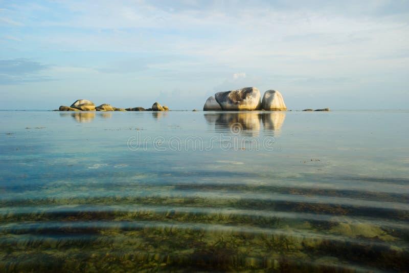 Peaceful morning at belitung indonesia stock photo
