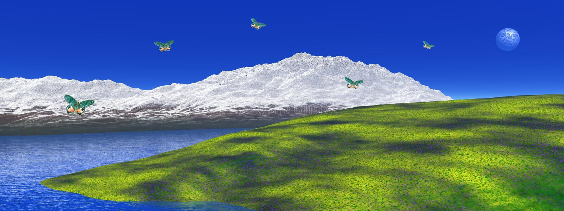 Peaceful mountain landscape vector illustration