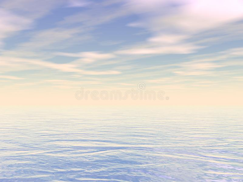 Peaceful ocean or sea water by sunset - 3D render royalty free illustration