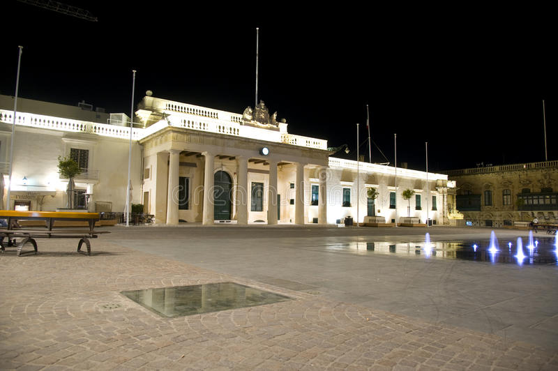 Palace square at night. Valetta, Malta. royalty free stock photography
