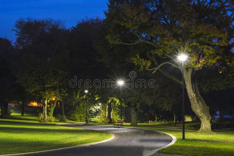 Peaceful Park in the Night with Street Lights, Trees, Green Grass and Pathway. royalty free stock photo