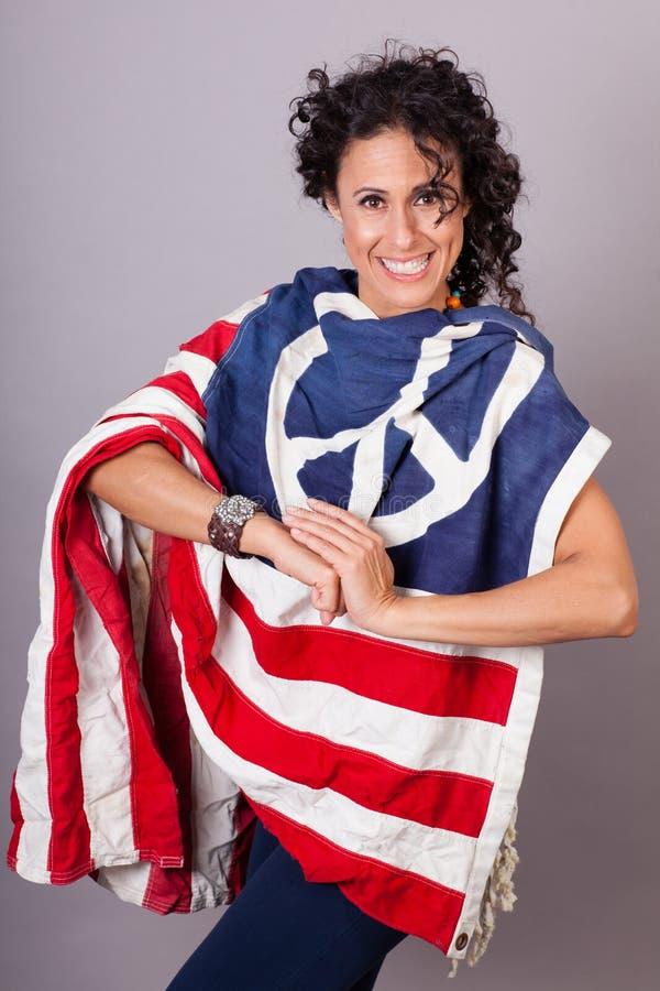 Peaceful Patriotic Woman