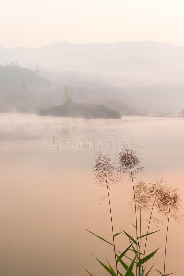 Peaceful place, Pa Khong Lake in morning light in winter season, soft mist covers on the lake and mountains. Scenic landscape of. Dien Bien, Vietnam. Warm tone royalty free stock photography