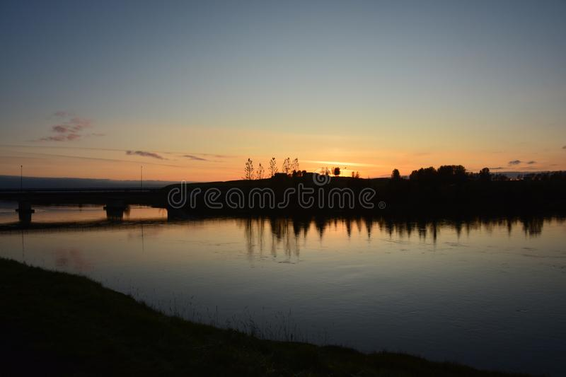 Peaceful river at sunset. In Iceland royalty free stock photos