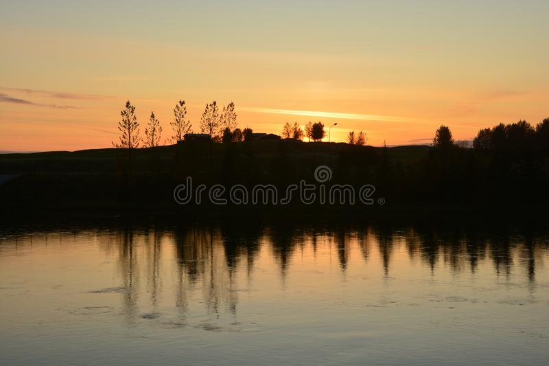 Peaceful river at sunset. In Iceland stock photography