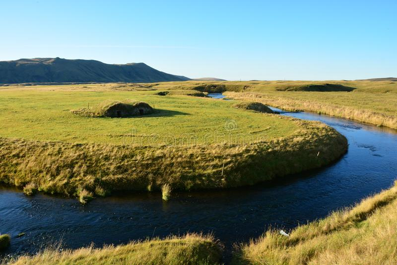 Peaceful river at sunset. In Iceland royalty free stock photo