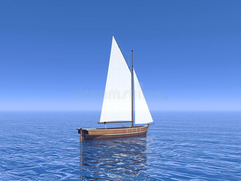 Peaceful sailboat - 3D render vector illustration