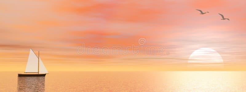 Peaceful sailboat - 3D render vector illustration