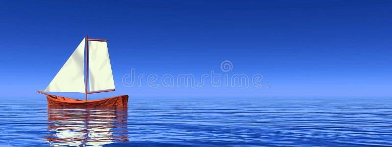 Peaceful sailboat - 3D render stock illustration