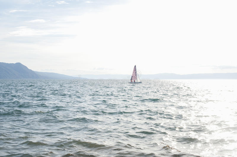 Peaceful sailing scenery on Lake Geneva stock photo