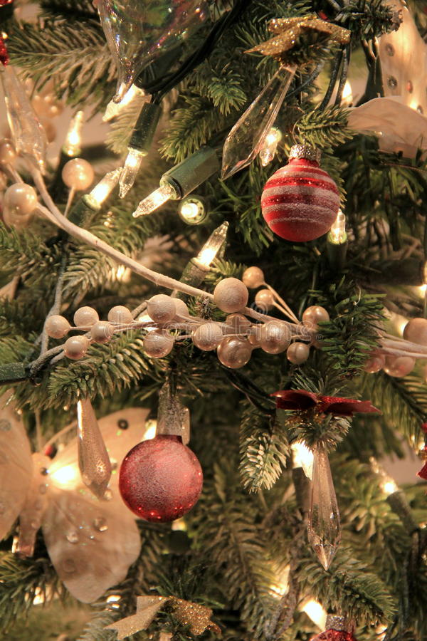 Peaceful scene of of Christmas tree and warm lights stock photos