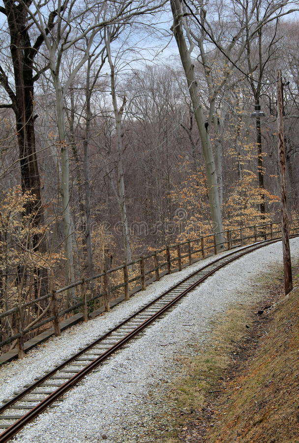 Peaceful scene of railroad tracks through the woods stock images