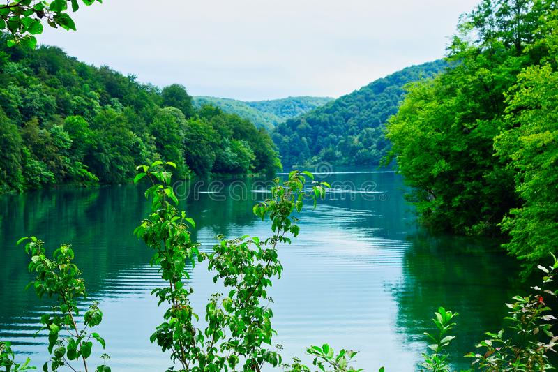 Calm Turquoise Water, Plitvice Lakes, Croatia. Peaceful and serene Plitvice Lakes, Plitvice National Park, European Union, Dalmatia, a UNESCO World Heritage royalty free stock photo