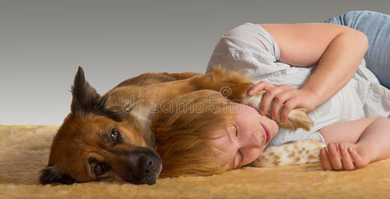 Peaceful Slumber With Gentle Dog Stock Photography