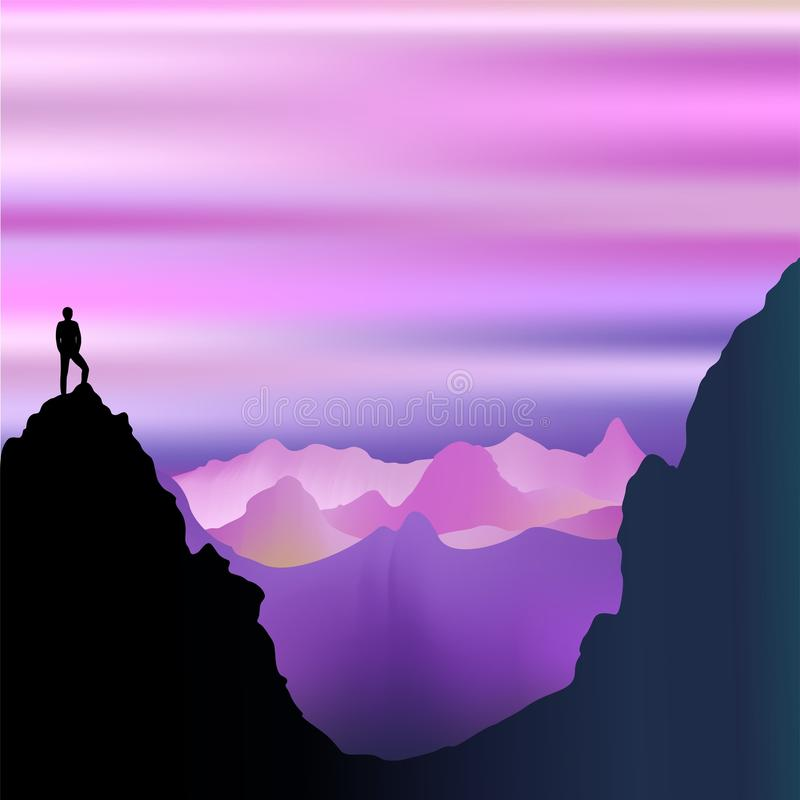 Peaceful Solitude on Misty Purple Mountains royalty free illustration