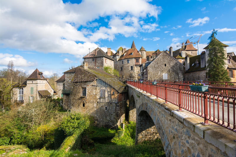 Peaceful streets of carennac village at france stock photography