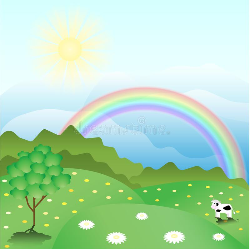 A peaceful summer landscape with a rainbow and green flowering meadows. vector illustration