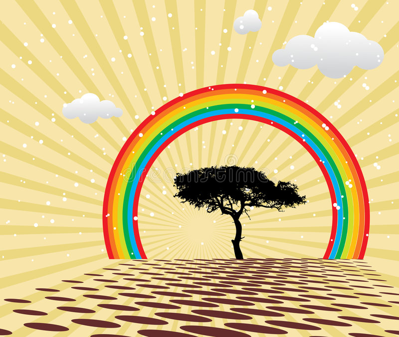 Download Peaceful Summer With Rainbow Royalty Free Stock Images - Image: 4268549