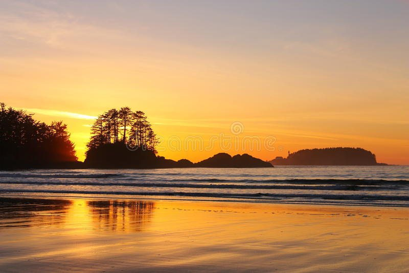 Peaceful Winter Sunset on Chesterman Beach, Tofino, Vancouver Island, British Columbia, Canada stock photos