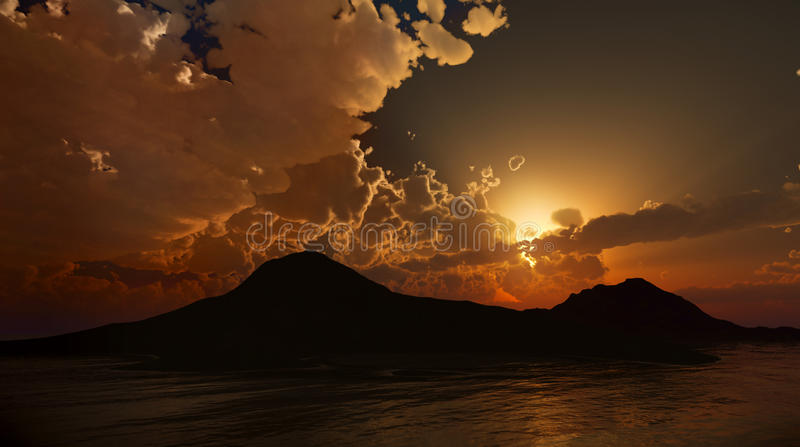 Peaceful Sunset or dawn. Photo real 3D rendering vector illustration