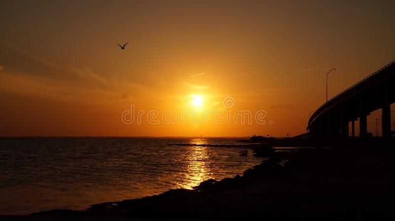 Peaceful sunset stock photography