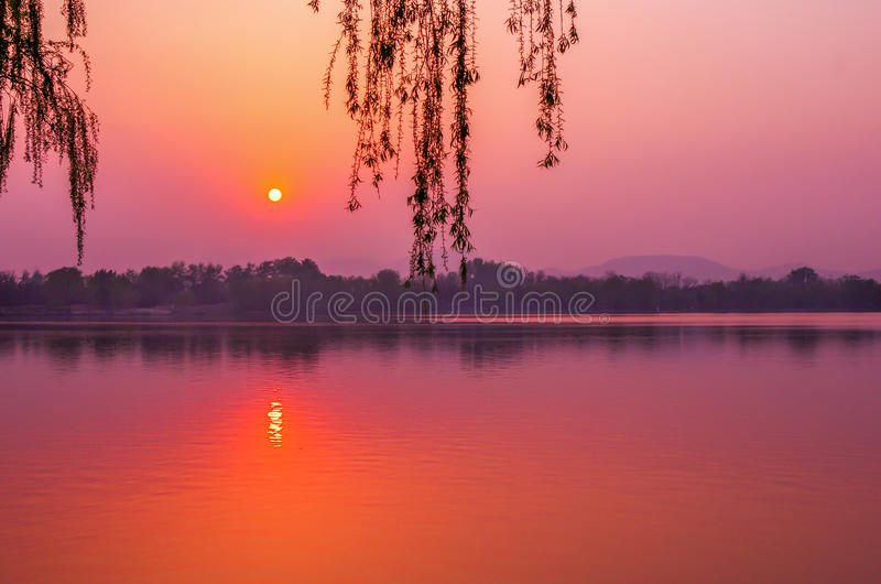 Peaceful sunset stock images